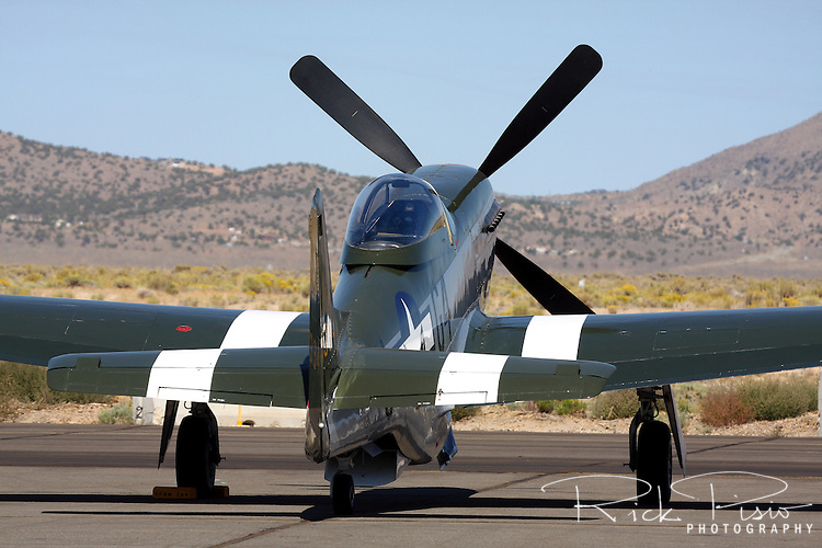 """The Planes of Fame P-51D Mustang """"Wee Willy II"""" sits on the ramp at Stead Field in Nevada. Wee Willy II participated in the Air Force Heritage Flight as well as the Warbird Flyby during the 2008 Reno National Championship Air Races."""