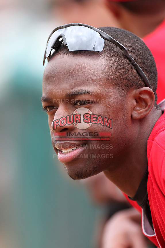 James Jones #28 of the High Desert Mavericks before game against the Rancho Cucamonga Quakes at The Epicenter in Rancho Cucamonga,California on May 8, 2011. Photo by Larry Goren/Four Seam Images
