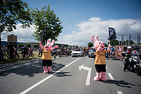 sponsor bunnies at the actual race start<br /> <br /> Dwars door het Hageland 2019 (1.1)<br /> 1 day race from Aarschot to Diest (BEL/204km)<br /> <br /> ©kramon