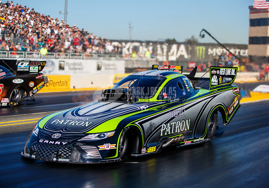 Jul 28, 2017; Sonoma, CA, USA; NHRA funny car driver Alexis DeJoria during qualifying for the Sonoma Nationals at Sonoma Raceway. Mandatory Credit: Mark J. Rebilas-USA TODAY Sports