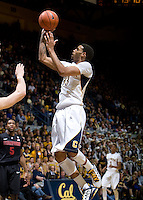 Allen Crabbe of California shoots the ball during the game against Stanford at Haas Paviliion in Berkeley, California on March 6th, 2013.  Stanford defeated California, 83-70.