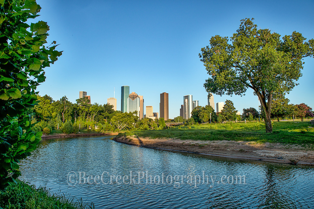 Houston cityscape with the Buffalo Bayou in the downtown area.
