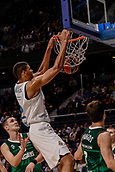 22nd March 2018, Wizink Centre, Madrid, Spain; Turkish Airlines Euroleague Basketball, Real Madrid versus Zalgiris Kaunas; Walter Tavares (Real Madrid Baloncesto) hangs from the net after a dunk