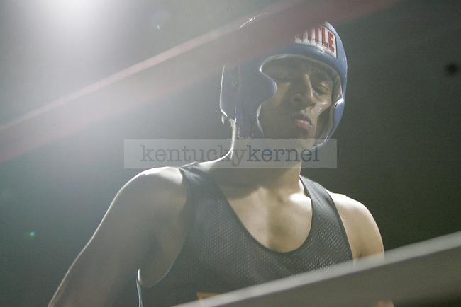 Ahmon McCollum of Sigma Chi gets ready for his bout at The Main Event, where proceeds benefitted The Huntsman Cancer Institute and The Ronald McDonald House in Lexington, Ky. on 11/11/11. Photo by Quianna Lige | Staff