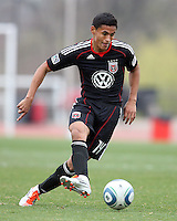 Andy Najar (14) of D.C. United  during a scrimmage against the University of Virginia at Ludwig Field, University of Maryland, College Park, on April  10 2011. D.C. United won 1-0.