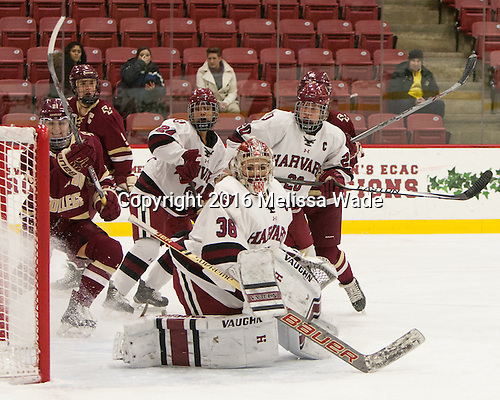 Lexi Bender (BC - 21), Alex Carpenter (BC - 5), Chelsea Ziadie (Harvard - 24), Emerance Maschmeyer (Harvard - 38), Michelle Picard (Harvard - 20) - The visiting Boston College Eagles defeated the Harvard University Crimson 2-0 on Tuesday, January 19, 2016, at Bright-Landry Hockey Center in Boston, Massachusetts.