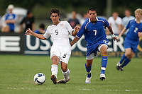 Erik Stephenson (5) of the USA and Victor Vasquez (7) of the Academy select Team. The US U-17 Men's National Team defeated the Development Academy Select Team 5-3 during day two of the US Soccer Development Academy  Spring Showcase in Sarasota, FL, on May 23, 2009.