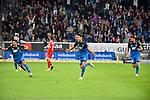 09.09.2017, wirsol-Rhein-Neckar-Arena, Sinsheim, GER, 1. FBL, TSG 1899 Hoffenheim vs FC Bayern Muenchen, im Bild Mark Uth (TSG Hoffenheim #19) jubelt ueber sein Tor zum 2:0, links Nadiem Amiri (TSG Hoffenheim #18), rechts Kerem Demirbay (TSG Hoffenheim #10)<br /> <br /> Foto &copy; nordphoto / Fabisch
