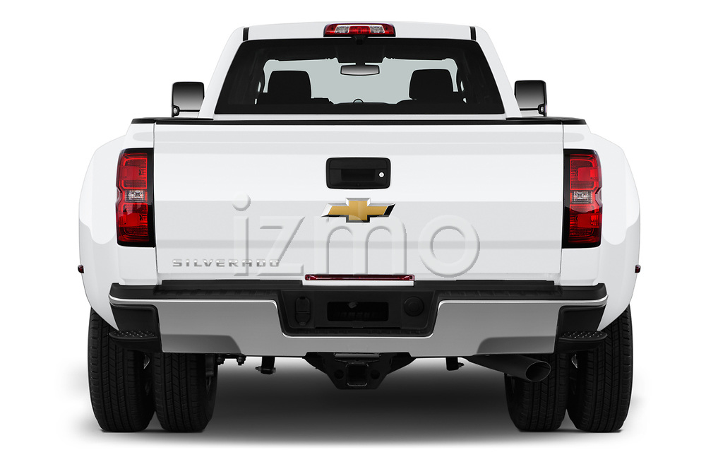 Straight rear view of a 2019 Chevrolet Silverado-3500 WT 4 Door Pick Up stock images