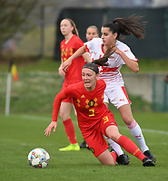 20190403  - Tubize , BELGIUM : Belgian Romy Camps (3)  and  Swiss Alissia Piperata (white) pictured during the soccer match between the women under 19 teams of Belgium and Switzerland , on the first matchday in group 2 of the UEFA Women Under19 Elite rounds in Tubize , Belgium. Wednesday 3 th April 2019 . PHOTO DIRK VUYLSTEKE / Sportpix.be
