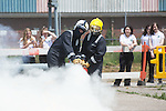 Women in Engineering<br /> Girls from Ysgol Garth Olwg getting a fire fighting lesson at Wales &amp; West Utilities training facility in Cardiff.<br /> 23.06.14<br /> &copy;Steve Pope-FOTOWALES