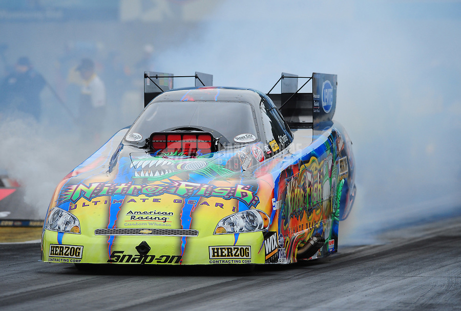 Oct. 2, 2011; Mohnton, PA, USA: NHRA funny car driver Tony Pedregon during the Auto Plus Nationals at Maple Grove Raceway. Mandatory Credit: Mark J. Rebilas-