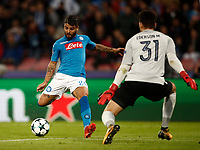 Football Soccer: UEFA Champions League Napoli vs Mabchester City San Paolo stadium Naples, Italy, November 1, 2017. <br /> Napoli's Lorenzo Insigne scores during the Uefa Champions League football soccer match between Napoli and Manchester City at San Paolo stadium, November 1, 2017.<br /> UPDATE IMAGES PRESS/Isabella Bonotto