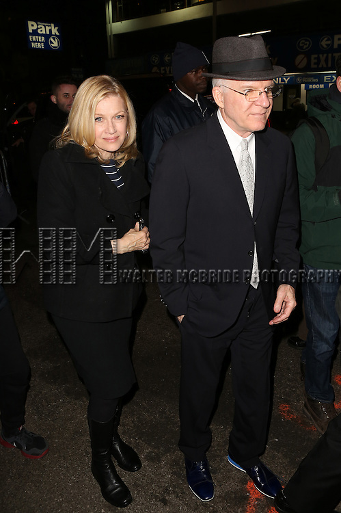 Diane Sawyer and Steve Martin attend the Re-Opening Night of 'It's Only A Play'  at the Bernard B. Jacobs Theatre on January 23, 2014 in New York City.