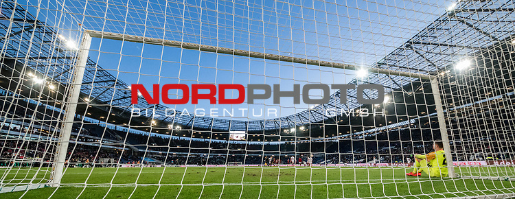 09.02.2019, HDI Arena, Hannover, GER, 1.FBL, Hannover 96 vs 1. FC Nuernberg<br /> <br /> DFL REGULATIONS PROHIBIT ANY USE OF PHOTOGRAPHS AS IMAGE SEQUENCES AND/OR QUASI-VIDEO.<br /> <br /> im Bild / picture shows<br /> Christian Mathenia (Nuernberg #26) sitzt nach Spielende und 2:0 Niederlage entt&auml;uscht und niedergeschlagen angelehnt am rechten Torpfosten, <br /> <br /> Foto &copy; nordphoto / Ewert