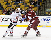 Tyler McNeely (NU - 94), Dave MacDonald (Harvard - 14) - The Harvard University Crimson defeated the Northeastern University Huskies 3-1 on Monday, February 4, 2008, in the opening game of the 2008 Beanpot at TD Banknorth Garden in Boston, Massachusetts.