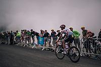 Julian Alaphilippe (FRA/Quick-Step Floors) up the brutal Col du Portet (HC/2250m/16km at 8.7%/Souvenir Henri Desgrange) in this historically short stage (only 65km)<br /> <br /> Stage 17: Bagn&egrave;res-de-Luchon &gt; Saint-Lary-Soulan (65km)<br /> <br /> 105th Tour de France 2018<br /> &copy;kramon