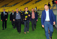 Hurricanes chief executive James Te Puni escorts Prince Harry to the Hurircanes changing rooms the Super Rugby match between the Hurricanes and Sharks at Westpac Stadium, Wellington, New Zealand on Saturday, 9 May 2015. Photo: Dave Lintott / lintottphoto.co.nz