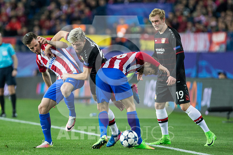 Kevin Kampl, Julian Brandt competes for the ball with Saul Iniguez and  Vrsaljko of Atletico de Madrid during the match of Uefa Champions League between Atletico de Madrid and Bayer Leverkusen at Vicente Calderon Stadium  in Madrid, Spain. March 15, 2017. (ALTERPHOTOS / Rodrigo Jimenez)
