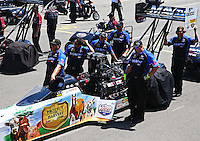 Jul. 21, 2013; Morrison, CO, USA: NHRA crew members wait in the staging lanes with top fuel dragster driver Brandon Bernstein during the Mile High Nationals at Bandimere Speedway. Mandatory Credit: Mark J. Rebilas-