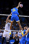 LOS ANGELES - MAY 5:  Daenan Gyimah #16 of the UCLA Bruins goes up for the shot against the Long Beach State 49ers during the Division 1 Men's Volleyball Championship on May 5, 2018 at Pauley Pavilion in Los Angeles, California. The Long Beach State 49ers defeated the UCLA Bruins 3-2. (Photo by John W. McDonough/NCAA Photos via Getty Images)