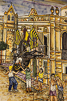"Spain. Balearic Islands. Minorca (Menorca). Mahon. City Hall. A painting depicts a rising horse at  ""Festes de la Mare de Déu de Gràcia"" during the traditional summer festival. The Menorquín is a breed of horse indigenous to the island and is closely associated with the doma menorquina style of riding. The riders and their horses parade through the streets, and these magnificent and remarkably calm horses rear up on their hind-legs to the delight of the crowd. The most valued quality of Menorquín horse is its suitability for the traditional festivals of Menorca. Horses and riders are at the centre of local fiesta celebrations, in a tradition that may go back to the 14th century and incorporate elements of Christian, pagan and Moorish ritual. Some 150 riders participate in the festival in Mahón. Riders pass through the crowds, executing caracoles and repeatedly performing the bot. The aim of the 'bot' is for the horse to stand on its hind legs while keeping its head and shoulders relaxed and without tension; the more often it is performed and the greater the distance travelled, the greater the applause of the crowd. The elevade, in which the horse beats the air with the front hooves, is also a part of the ritual of the fiesta. Touching the horses is believed to bring good luck. Maó (in Catalan) and Mahón (in Spanish), written in English as Mahon, is a municipality, the capital city of the island of Menorca, and seat of the Island Council of Menorca. The city is located on the eastern coast of the island, which is part of the autonomous community of the Balearic. In Spain, an autonomous community is a first-level political and administrative division, created in accordance with the Spanish constitution of 1978, with the aim of guaranteeing limited autonomy of the nationalities and regions that make up Spain. 12.09.2019 © 2019 Didier Ruef"