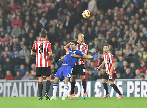 29.11.2014.  Sunderland, England. Premier League. Sunderland versus Chelsea. Diego Costa of Chelsea backs into Wes Brown of Sunderland