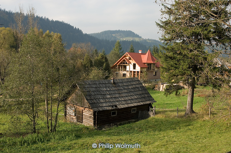 Traditional wooden houses in the Carpathian village of Mikulicyn (Mikulycyn) in south-western Ukraine.
