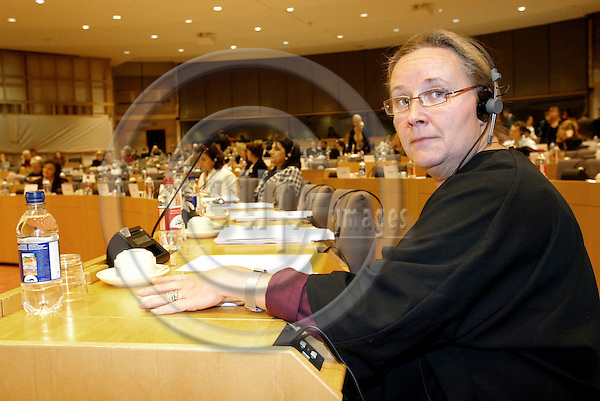 BRUSSELS - BELGIUM -19 JANUARY 2004--MEP Marianne ERIKSSON (Sweden, GUE/NGL), rapporteur on Trafficking in Human Beings and its Impact on the Sex Industry during the public hearing at the EU-Parliament. --PHOTO: JUHA ROININEN / EUP-IMAGES