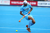 India's Talwinder Singh in action during the Hockey World League Semi-Final match between Pakistan and India at the Olympic Park, London, England on 18 June 2017. Photo by Steve McCarthy.
