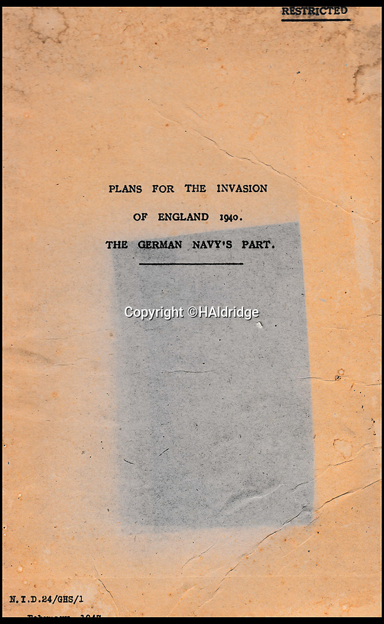 BNPS.co.uk (01202 558833)<br /> Pic: HAldridge/BNPS<br /> <br /> A top secret post war analysis by British Naval intelligence that offers a detailed and chilling account of the German equivalent of the D-Day landings has been uncovered.<br /> <br /> The volume was compiled by the British based on documents recovered in German naval archives after the war that outlined the Nazi invasion of the UK.<br /> <br /> And the blueprint for Operation Sealion that was to have taken place in September 1940 is remarkably similar to Operation Overlord - the Allied invasion of Normandy - four years later.<br /> <br /> Adolf Hitler identified five different sectors of the English coast to attack with 600,000 men ; from Ramsgate in Kent in the east to Selsey Bill in West Sussex in the west.