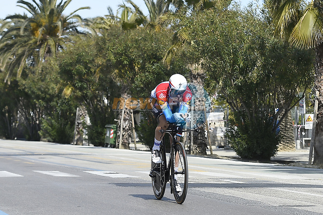 Bob Jungels (LUX) Quick-Step Floors recons the course before Stage 7 of the 2017 Tirreno Adriatico a 10km Individual Time Trial at San Benedetto del Tronto, Italy. 14th March 2017.<br /> Picture: La Presse/Fabio Ferrari   Cyclefile<br /> <br /> <br /> All photos usage must carry mandatory copyright credit (&copy; Cyclefile   La Presse)