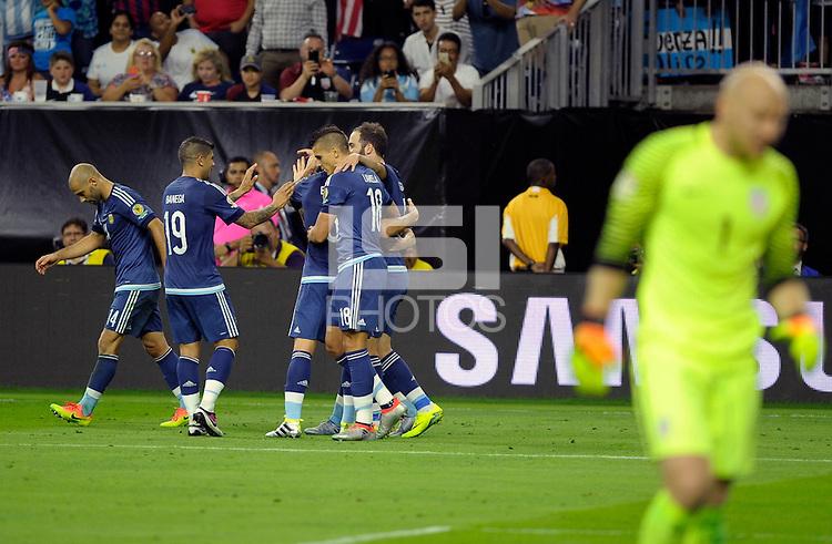 Action photo during the match Unitred States vs Argentina, Corresponding to the Semifinals of the America Cup Centenary 2016 at NRG Stadium.<br /> <br /> Foto  de accion durante el partido Estados Unidos vs Argentina, Correspondiente a la Semifinal de la Copa America Centenario 2016, en el Estadio NRG, en la foto: (i-d) Brad Guzan de USA y Gonzalo Higuain de Argentina <br /> <br /> <br /> 21/06/2016/MEXSPORT/PHOTOGAMMA/Javier Gonzalez.