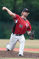 14 July 2010: Thomas Dourlens pitches during day 2 of the Open de Rouen, an international tournament with Team France, Team Saint Martin, Team All Star Elite, at Stade Pierre Rolland, in Rouen, France.