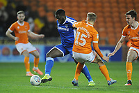 Gillingham's John Akinde under pressure from Blackpool's Kiernan Dewsbury-Hall<br /> <br /> Photographer Kevin Barnes/CameraSport<br /> <br /> The EFL Sky Bet League One - Blackpool v Gillingham - Tuesday 11th February 2020 - Bloomfield Road - Blackpool<br /> <br /> World Copyright © 2020 CameraSport. All rights reserved. 43 Linden Ave. Countesthorpe. Leicester. England. LE8 5PG - Tel: +44 (0) 116 277 4147 - admin@camerasport.com - www.camerasport.com