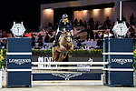 Yu An Su of Hong Kong riding Chardonay Hara Des Barrages competes in the HKJC Junior Trophy during the Longines Masters of Hong Kong at AsiaWorld-Expo on 11 February 2018, in Hong Kong, Hong Kong. Photo by Diego Gonzalez / Power Sport Images