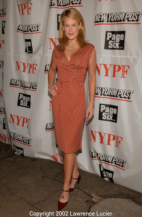 Model Heidi Albertson arrives at the launch party for the New York Post's first 20 page full-color fashion supplement February 7, 2002, in New York.  Sarah and Lachlan Murdoch hosted the party at the Mercer Kitchen in Soho..