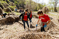 Liberty University students participate in Serve Lynchburg at Providence Farms by cleaning up the grounds, painting and building on April 21, 2018. (Photo by Joel Coleman)
