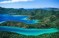 Aerial View of Hurricane Hole.showing Water Creek, Otter Creek, Princess Bay and Borck Creek.St. John.U.S. Virgin Islands