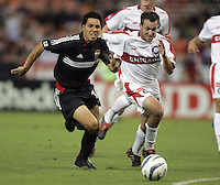 Christian Gomez, left, Scott Buete, right, Chicago vs DC United at RFK Stadium in Washington, DC.