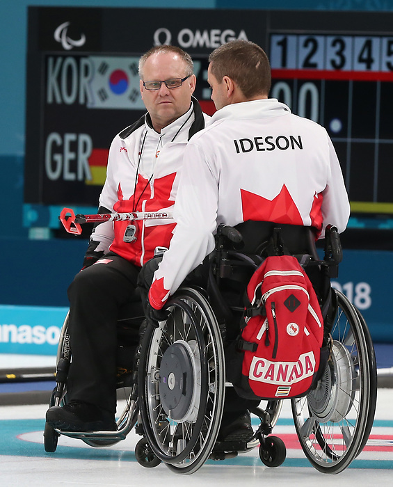Pyeongchang, Korea, 12/march/2018-Dennis Thiessen, Mark Ideson, compete in wheelchair curling during the 2018 Paralympic Games in PyeongChang. Photo Scott Grant/Canadian Paralympic Committee.