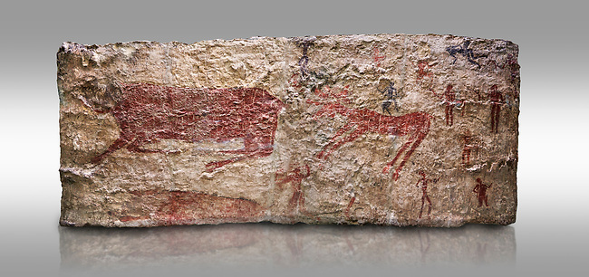 Hunting scene. A deer and wild boar are depicted being hunted with people using bows and arrows. One person is depcted trying to net the boar. 6000 BC,  Catalhoyuk Collections. Museum of Anatolian Civilisations, Ankara. Against a grey background