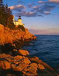 Acadia National Park<br /> Bass Harbor Head Lighthouse (1858) in late evening light - Mount Desert Island
