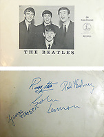 BNPS.co.uk (01202 558833)<br /> Pic: SpicersAuctioneers/BNPS<br /> <br /> A teenager who was able to secure the autographs of all four Beatles at a TV studio as the audience was too old to care is selling them 56 years later.<br /> <br /> Andrew Blake was aged 15 when he and his mum went to the TV studios for the Fab Four's recording for an entertainment show in 1963.<br />  <br /> While scores of screaming fans gathered outside, ABC Television's Big Night Out attracted more of an older studio audience who were too grown up to mob the band. <br /> <br /> And so after a youthful looking John, Paul, George and Ringo finished their performance of three songs, Andrew found he had no competition for securing their autographs.
