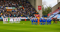 Both teams, officials and fans observe a minutes silence before the match<br /> <br /> Photographer Alex Dodd/CameraSport<br /> <br /> The EFL Sky Bet Championship - Wigan Athletic v Leeds United - Sunday 4th November 2018 - DW Stadium - Wigan<br /> <br /> World Copyright &copy; 2018 CameraSport. All rights reserved. 43 Linden Ave. Countesthorpe. Leicester. England. LE8 5PG - Tel: +44 (0) 116 277 4147 - admin@camerasport.com - www.camerasport.com