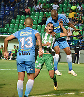 MONTERIA - COLOMBIA, 02-09-2018: Alexis Hinestroza (Der) jugador de Jaguares de Córdoba disputa el balón con Omar Duarte (Izq) jugador de Atletico Nacional durante partido por la fecha 7 de la Liga Águila II 2018 jugado en el estadio Municipal de Montería. / Alexis Hinestroza (R) player of Jaguares of Cordoba vies for the ball with Omar Duarte (L) player of Atletico Nacional during a match for the date 7 of the Liga Aguila II 2018 at the Municipal de Monteria Stadium in Monteria city. Photo: VizzorImage / Andres Felipe Lopez / Cont