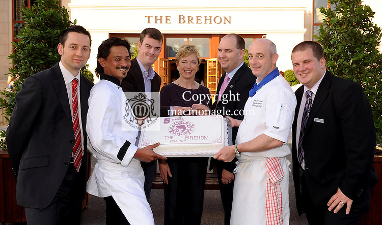 Celebrating the fifth birthday of The Brehon Hotel Killarney and the launch of The danu restaurant at The Brehon on Tuesday night were from left, Peter Tancred, Restaurant Manager, Aris Fadilah, Head Chef, John O'Donoghue, Gleneagle Group, Carmel Flynn, Director of Marketing, Sean O'Driscoll, The Brehon Manager, John Drummond, Executive Chef and Danny McClure, Guest Relations Manager. Picture: Eamonn Keogh (MacMonagle, Killarney)