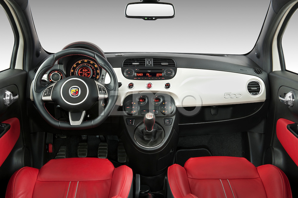 Straight dashboard view of a 2009 Fiat 500 Abarth 3 door hatchback.