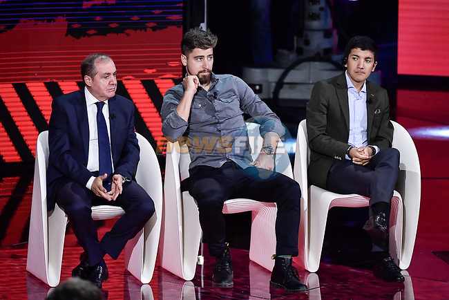 Mauro Vegni, Peter Sagan and Richard Carapaz on stage at the route presentation for the 103rd edition of the Giro d'Italia 2020 held in the RAI Studios, Milan, Italy. <br /> 24th October 2019.<br /> Picture: LaPresse/Marco Alpozzi   Cyclefile<br /> <br /> All photos usage must carry mandatory copyright credit (© Cyclefile   LaPresse/Marco Alpozzi)
