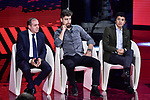 Mauro Vegni, Peter Sagan and Richard Carapaz on stage at the route presentation for the 103rd edition of the Giro d'Italia 2020 held in the RAI Studios, Milan, Italy. <br /> 24th October 2019.<br /> Picture: LaPresse/Marco Alpozzi | Cyclefile<br /> <br /> All photos usage must carry mandatory copyright credit (© Cyclefile | LaPresse/Marco Alpozzi)